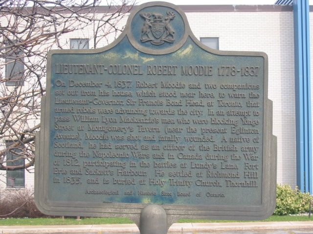 On December 4, 1837, Robert Moodie and two companions set out from his house, which stood near here, to warn the Lieutenant-Governor, Francis Bond Head, at Toronto, that armed rebels were advancing ...