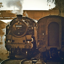 Steamy  evening by Gordon Simpson - Transportation Trains