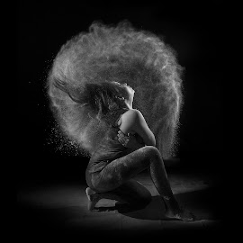 One Last Dance by Dikye Darling - Black & White Portraits & People ( girl., dancing, fnatastic, black and white, happy, movement, powder, lovely, dance, move, portrait )