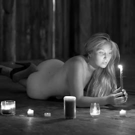 Monochrome Candlelight Beauty by Big Pikey - Nudes & Boudoir Boudoir ( monochrome candlelight boudoir, candles and blonde, candlelight black and white, monochrome boudoir, beautiful blonde,  )