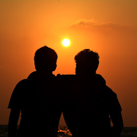 The silhouette of trust! by Ibrahim Ashraf - People Family ( love, orange, all time, silhouette, sunset, peace, friendship, beauty, friend, brothers )
