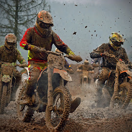 Densely Packed by Marco Bertamé - Sports & Fitness Motorsports ( curve, turn, slow down, mud, motocross, fight, clumps, motorcycle, race, crowded, close, competition,  )