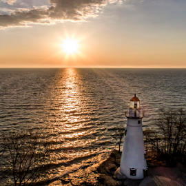 Morning at Marblehead by Pat Eisenberger - Landscapes Waterscapes ( ohio, lighthouse, marblehead lighthouse, sunrise, lake erie,  )