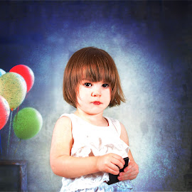 Lorelei in Paris by Elizabeth Robinette - Babies & Children Toddlers ( child, paris, girl, female, art, baby, balloons, toddler, painting )