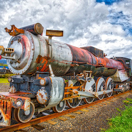 The Ice Cream Special by Richard Duerksen - Transportation Trains ( clouds, oregon, locomotove, tillamook, train, rust, ice cream train )