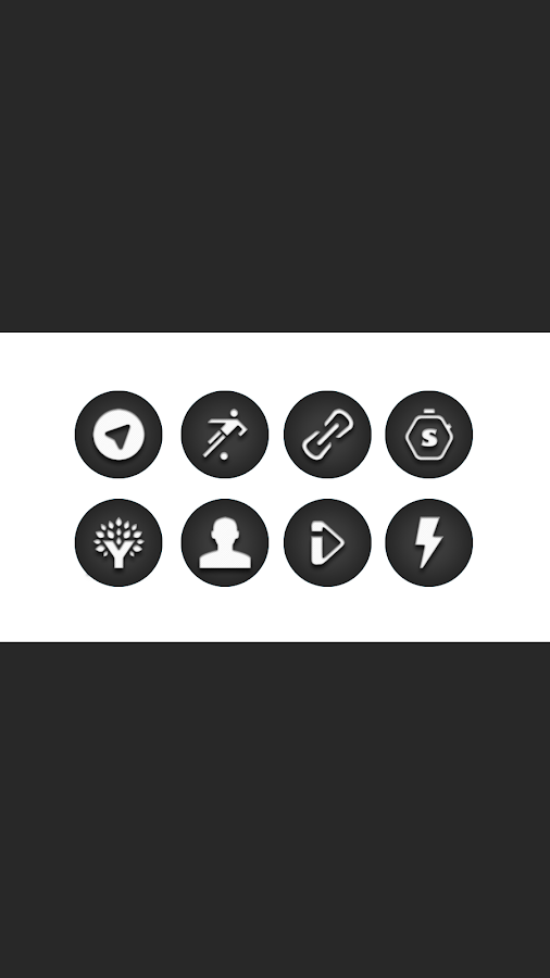 Jogi - Black White Round Icons Screenshot 2