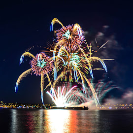 Rainbow fireworks by Cory Bohnenkamp - Abstract Fire & Fireworks ( abstract, celebration of light, fireworks, night, rainbow, vancouver )