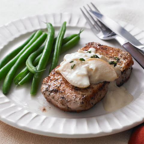 Pork Chops with Apples & Creamy Mustard Sauce