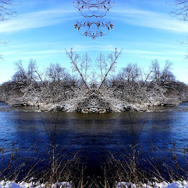 Baraboo River by Kathy Kehl - Digital Art Places ( water, sky, winter, blue, snow, river )