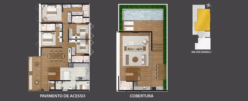Planta Cobertura  Duplex (Casa Suspensa de 312 m²)