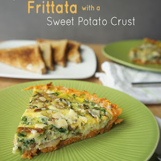 Spinach & Caramelized Onion Frittata with a Sweet Potato Crust