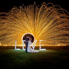 Night by Lood Goosen (LWG Photo) - Wedding Bride & Groom ( love, wedding photography, wedding photographers, night photography, wedding day, weddings, wedding, wedding dress, wedding photographer, bride and groom, bride, groom, bride groom, flame )