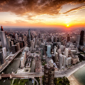 Chi Town by Kevin Miller - City,  Street & Park  Skylines ( sunset, chicago )