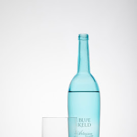 Special water by Joost Postma - Food & Drink Alcohol & Drinks ( studio, water, blue, white, glass, commercial )