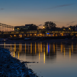 Hammersmith Bridge, London by Henry Chu - City,  Street & Park  Night