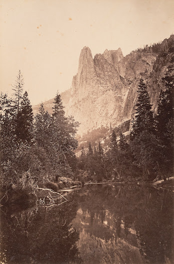 Carleton Watkins ventured west in 1849 to try his luck as a gold prospector. Instead, he found success as a photographer, making his first trip to photograph Yosemite in 1861.   Despite the challenges of carrying his heavy sixteen-by-twenty-one-inch view camera, glass plates, and processing equipment into the wilderness by mule, he created stunning, large-scale photographs that set the standard for his contemporaries and helped push photography into the realm of fine art.   His work also encouraged President Lincoln to pass the Yosemite Grant in 1864. This legislation marked the first time that the federal government set aside land for preservation and public use. The following year, a mountain in the park was named in honor of Watkins.