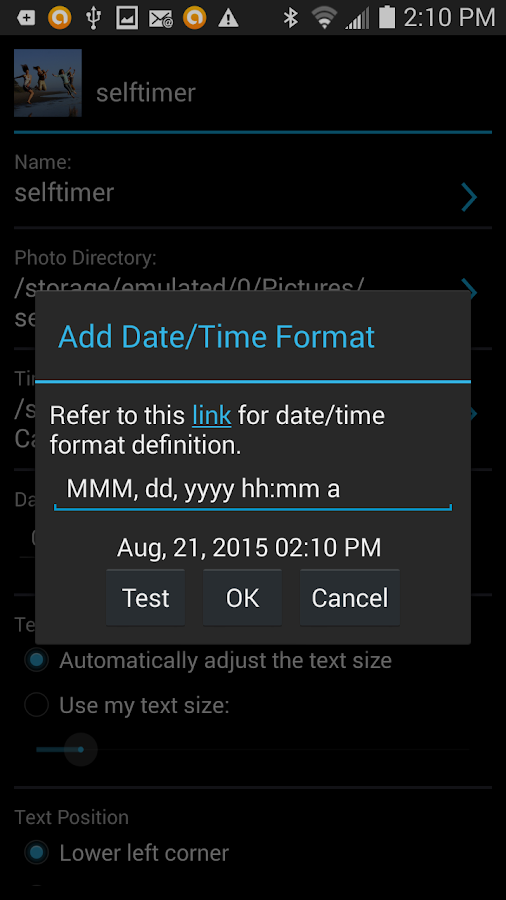 Camera Timestamp Add-on Screenshot 4