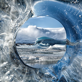 Circle of Life by Tim Vollmer - Nature Up Close Water ( glacier, water, iceberg, clouds, iceland, floating ice, clear ice, blue ice, ice, www.timvollmer.de, hole )