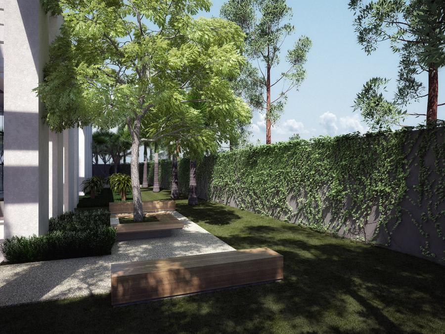 Perspectiva do Jardim e Área Externa