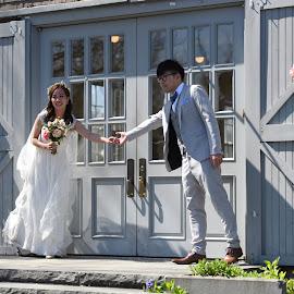 Barn Marriage  by Lorraine D.  Heaney - Wedding Bride & Groom