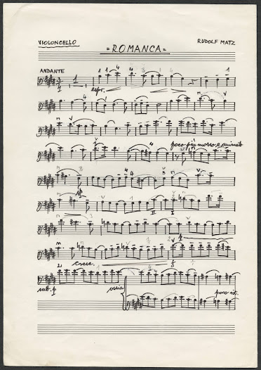 Matz wrote manuscripts for original music such as this in his own hand.  This is a piece for violoncello and piano.