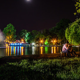Cișmigiu City Garden. The garden of romance  by Sorin Grigoras - City,  Street & Park  City Parks ( night water mirror, night photography, night lights, city night scape, cuple romance, cismigiu )