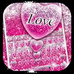 Pink Glitter Love Heart Keyboard Theme Icon