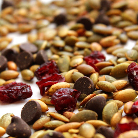 Roasted Pepitas (Pumpkin Seeds), Dried Cranberries, and Chocolate Snack Mix