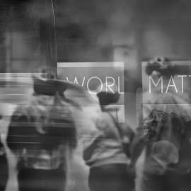 The world matters 2 by Jose Hernan Cibils - City,  Street & Park  Street Scenes ( bus, black and white, street, collage, people )