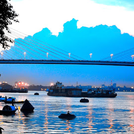 The Beauty of Ganges by Diptiman Sengupta - City,  Street & Park  Street Scenes ( lights, ganges, architecture, cityscape, bridges,  )