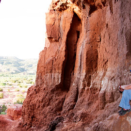 Looking out of a cave by Scott Thomas - People Street & Candids ( view, cave, nature, looking, landscape )