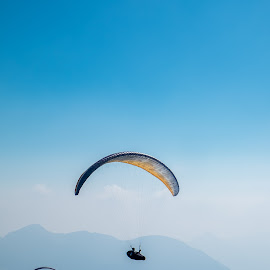 High above No.1 by Bor Rojnik - Sports & Fitness Other Sports ( mountains, sky, paraglider, freedom, slovenia, above, tranquility, paraglide )