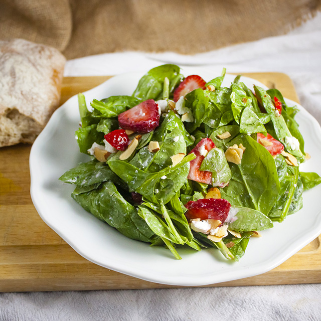 Strawberry, Spinach, Goat Cheese Salad Recipe | Yummly