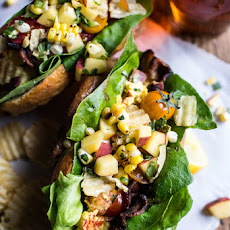 BLT and Potato Chip Lobster Rolls with Peach Salsa.