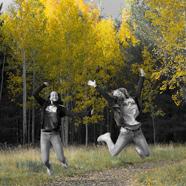 Happy by Beth Staub - People Street & Candids ( girls, jumping, autumn, happy, fall, trees, candid, yellow, jump )