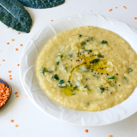 Red Lentil Soup with Kale, Lemon and Pepper
