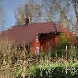 House in water... by Zenonas Meškauskas - Artistic Objects Other Objects ( picture, water, reflection, house, painting )