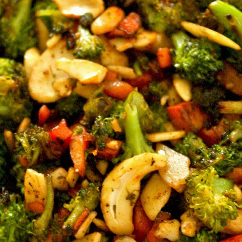 Broccoli, Carrot and Nuts stir fry