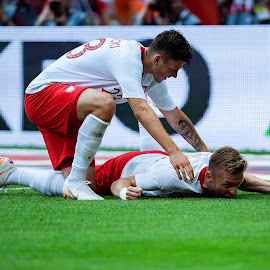Jakub Blaszczykowski and Dawid Kownacki by Paweł Mielko - Sports & Fitness Soccer/Association football ( soccer, goal, sports, celebrate, kownacki, poland, match, football, sport photography, nikon, polish, sport, blaszczykowski )