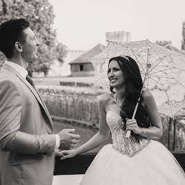 M&M by Vlada Jovic - Wedding Bride & Groom ( black and white, white, castle, bride and groom, bride, photo, photography, black )