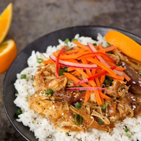 Slow Cooker Orange Chicken with Fresh Asian Slaw