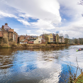 Durham by Adam Lang - City,  Street & Park  Vistas ( clouds, durham, sky, bridge, house, boat )