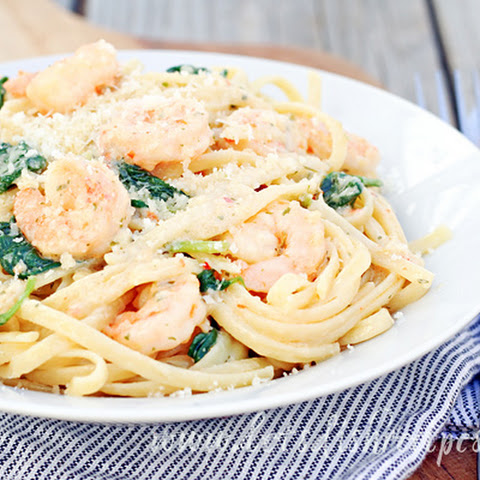 Easy Shrimp Scampi and Spinach Alfredo