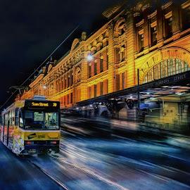 Flinder Street Station by Jim Merchant - City,  Street & Park  Street Scenes ( tram, historic district, street scene, motion blur, city )