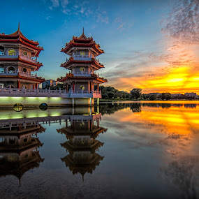 Twin Pagodas of Chinese Garden by Gordon Koh - City,  Street & Park  City Parks (  )