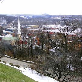 Galena from Above by Kathy Rose Willis - City,  Street & Park  Vistas ( galena, illinois, steeple, church, snow, vista )