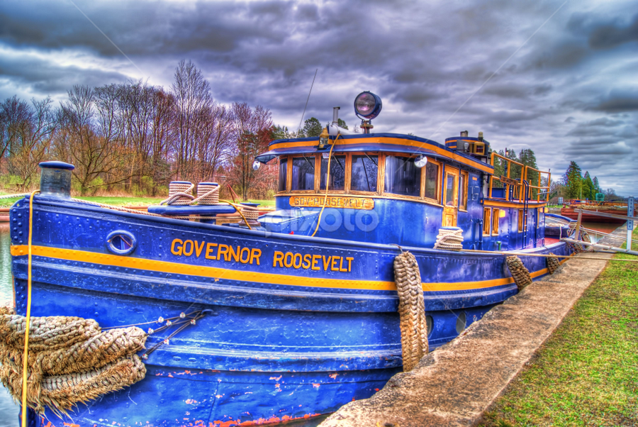 Old tug by Blaine Stauffer - Transportation Boats