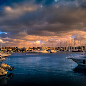 Marina Vodice by Branko Meic-Sidic - Transportation Boats ( clouds, beutiful, hdr, waterscape, dramatic, croatia, sea, seascape, vodice, landscape, waterfront, colours )