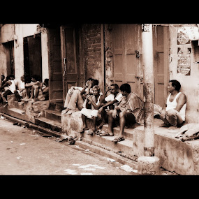 The People by Sudipta Jana - City,  Street & Park  Neighborhoods ( sepia, kolkata, india, people, city,  )