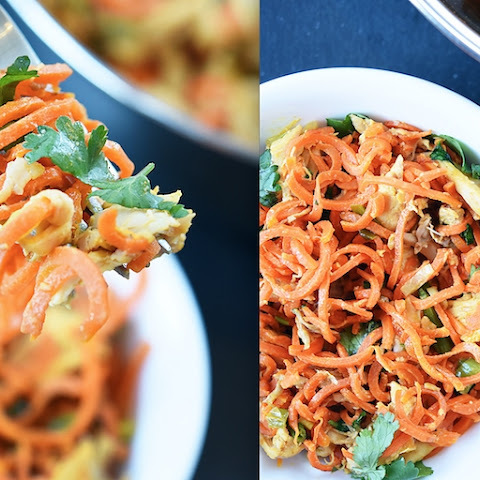 9. Carrot Noodles with Chicken and Peanut Sauce